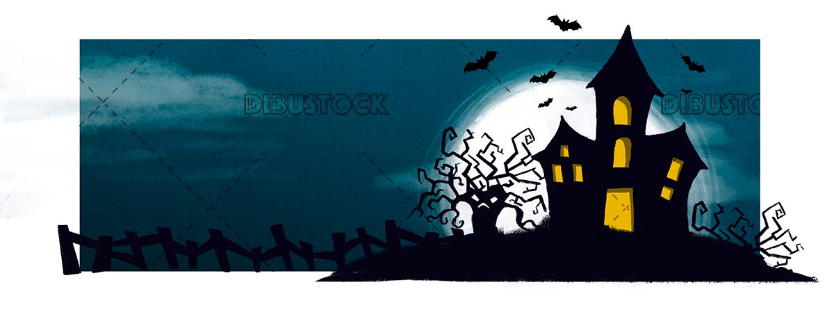Halloween night with haunted house