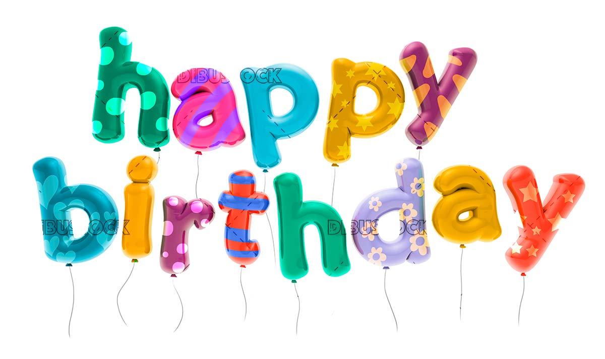 Happy birthday text balloon 3D