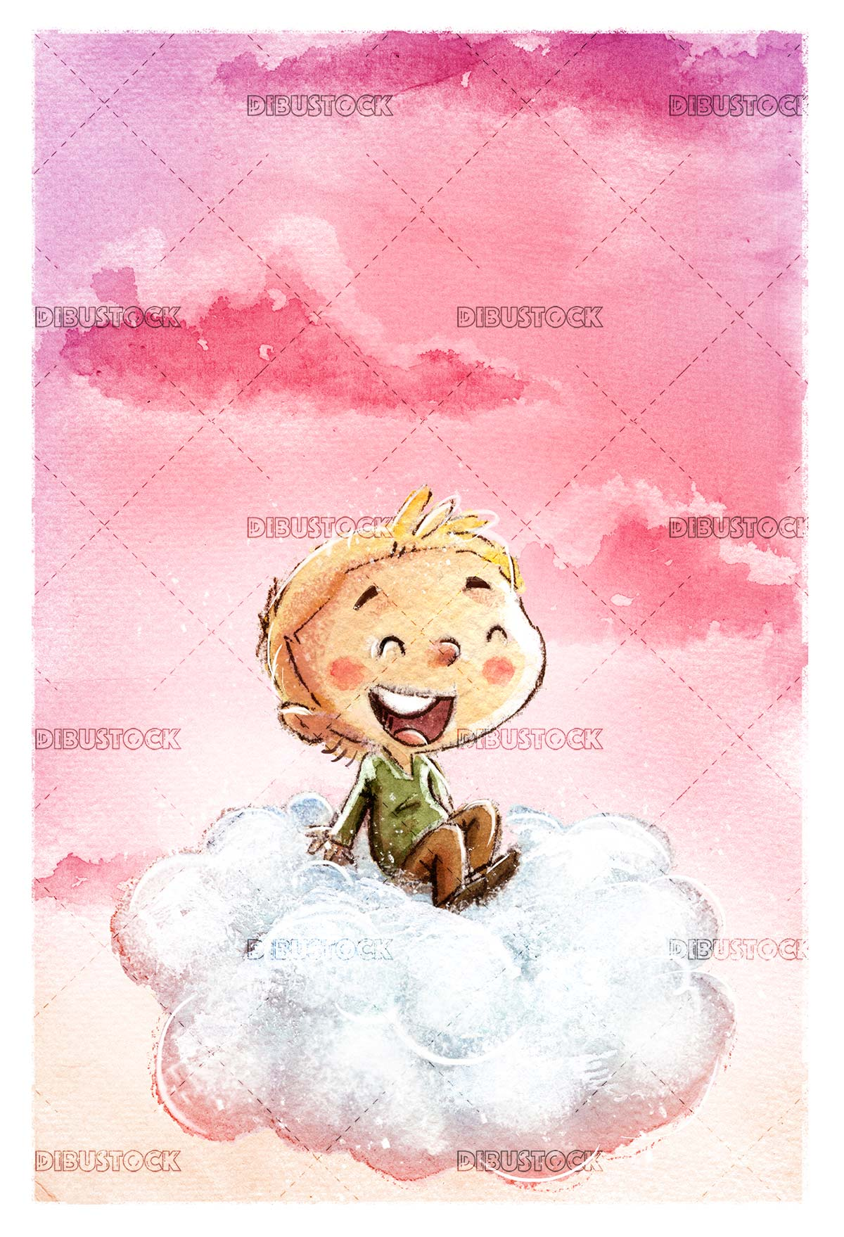 Happy boy flying with cloud