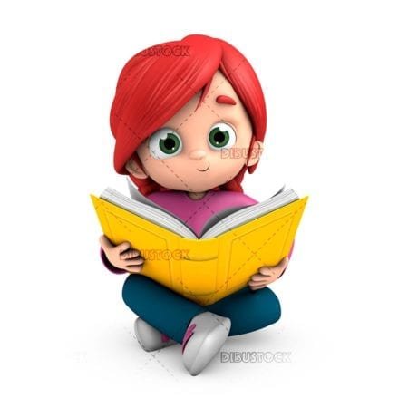 Happy girl sitting reading a book