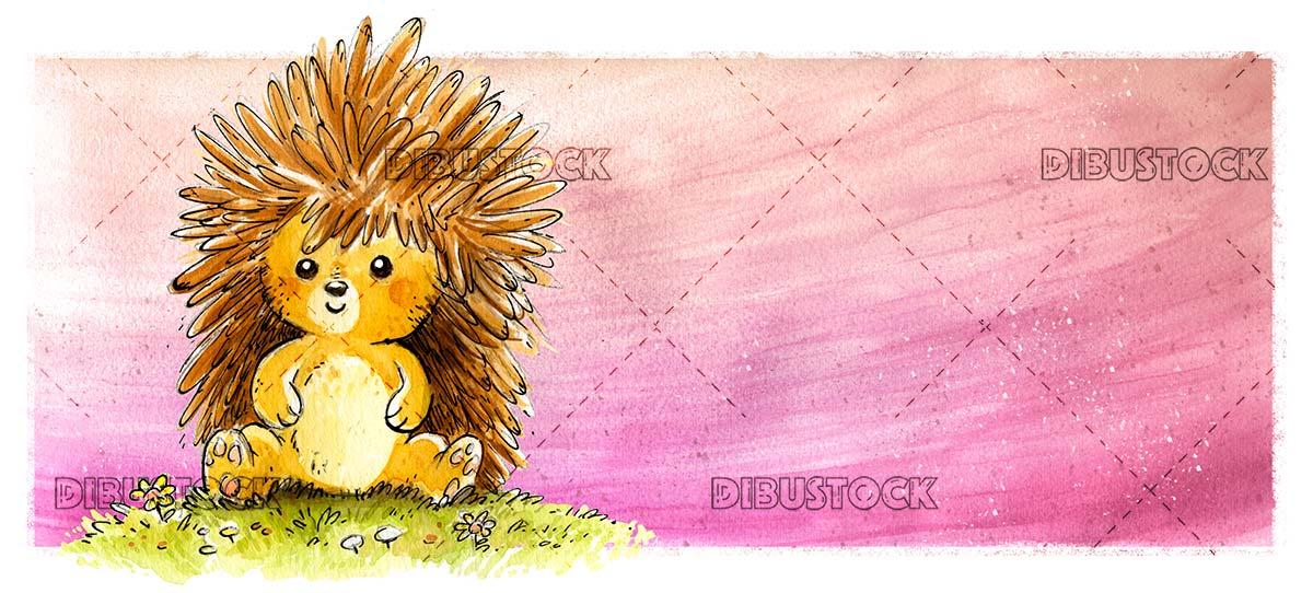 Happy hedgehog in the meadow