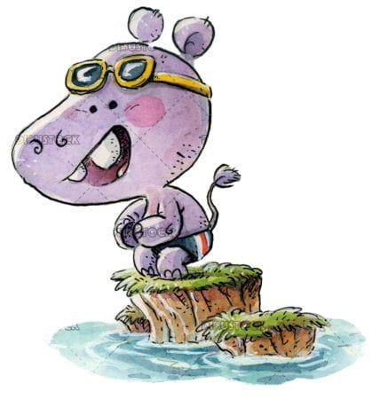 Hippo in a swimsuit