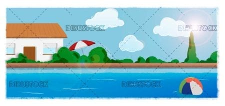 Houses with pool in summer copia