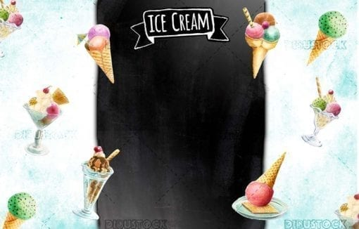Ice cream poster design with blackboard