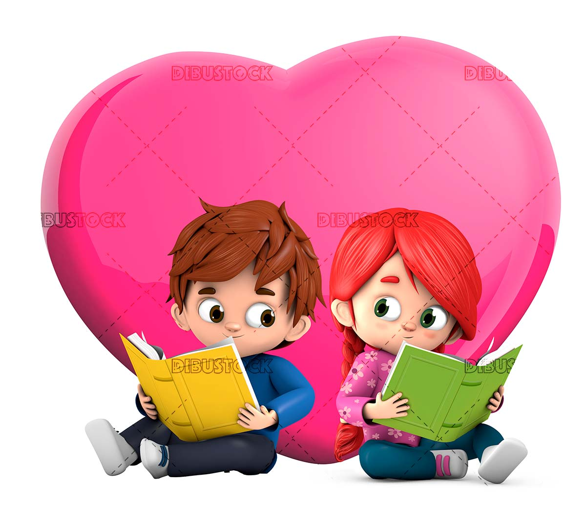 In love reading a book with a heart behind