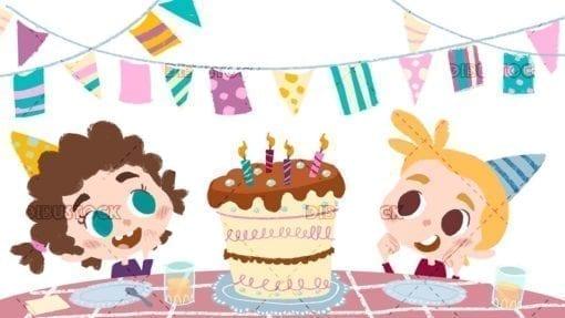 Kids with cake celebrating a birthday