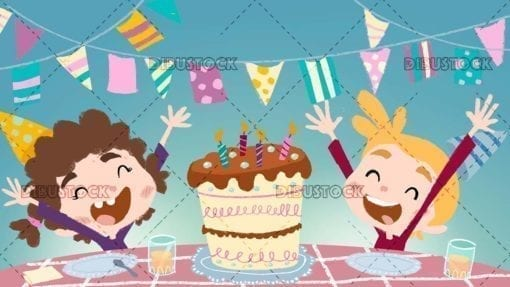 Kids with cake celebrating a birthday with background