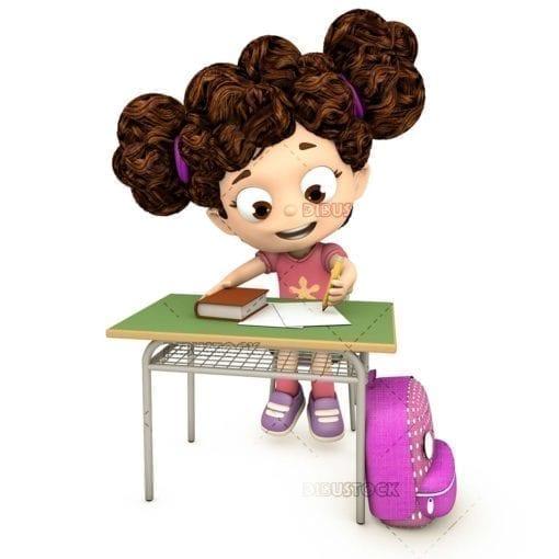 Little girl doing homework in class sitting at her desk
