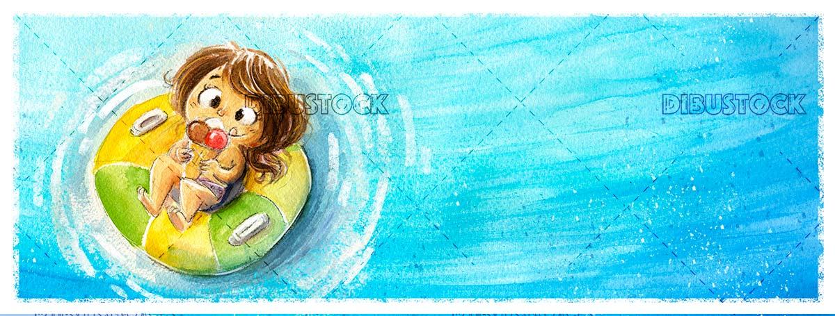 Little girl eating ice cream on the mat