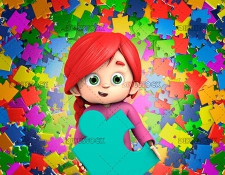 Little girl holding the one piece of puzzle with pieces background