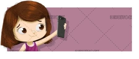 Little girl taking a selfie. A photo with the mobile