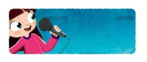 Little girl with a microphone singing