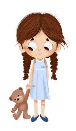 Little girl with freshly raised teddy bear