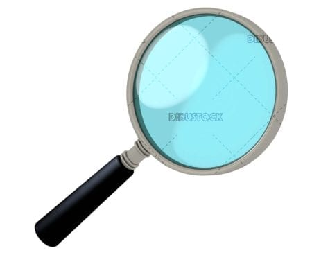 Magnifying glass with blue glass