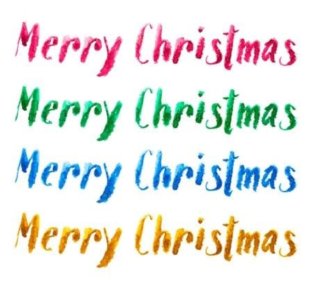 Merry Christmas in watercolor text