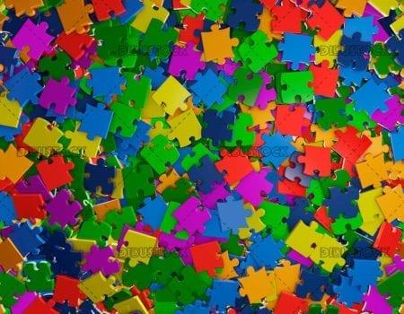 Mixed color puzzle pieces