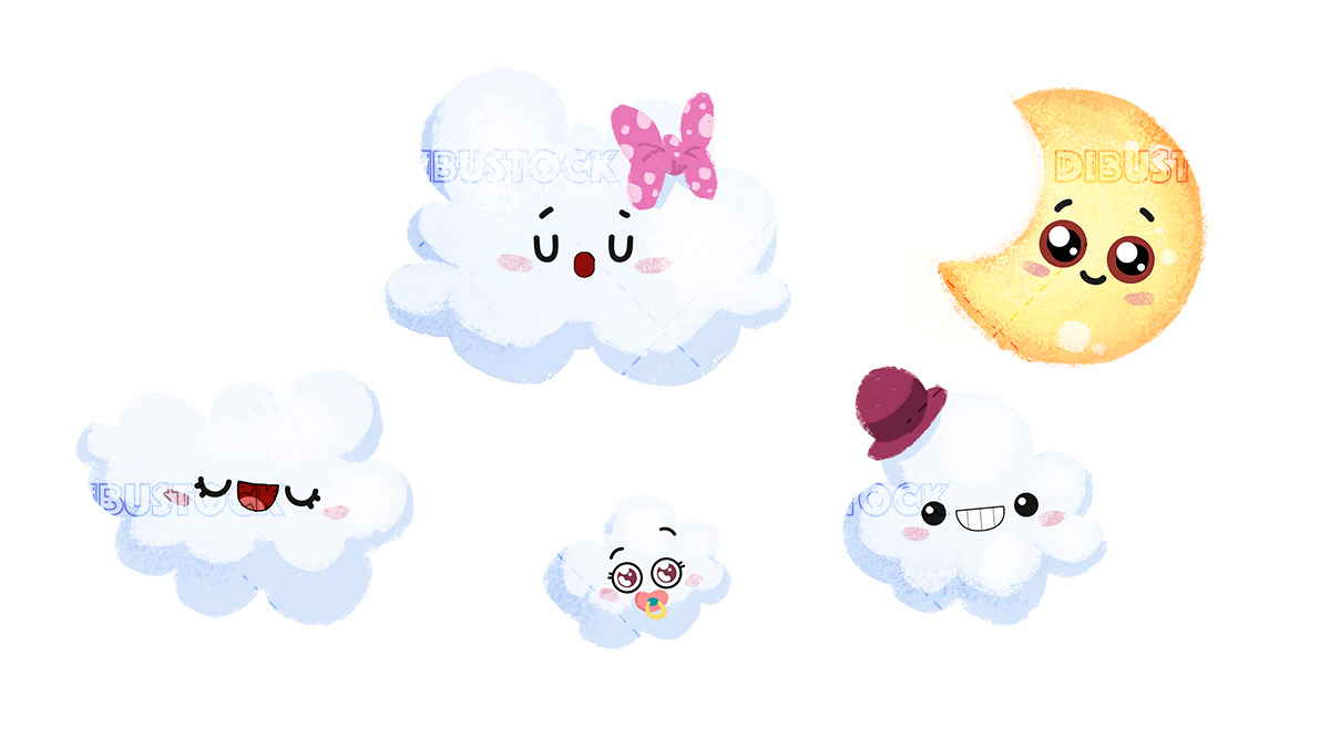 Night sky with clouds stars and moon with eyes with white background