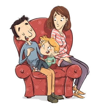 Parents talking with their son on the sofa