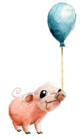 Pig with blue balloon