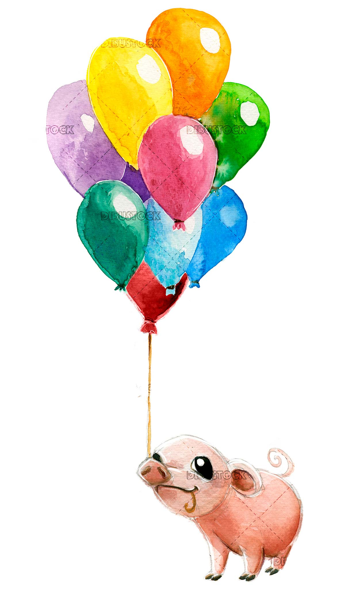 Pig with colored balloons