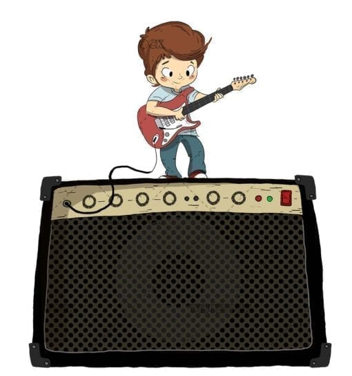 Playing the electric guitar with amplifier. Boy playing the guitar