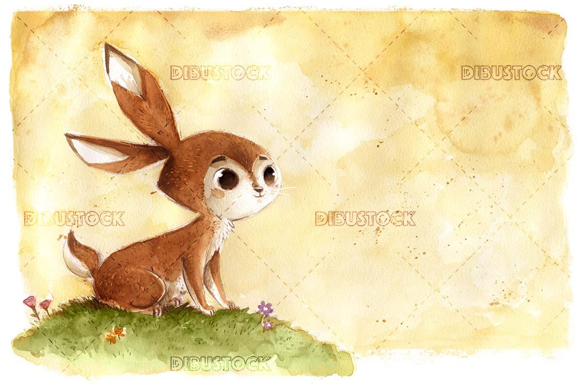 Rabbit in the field in watercolor