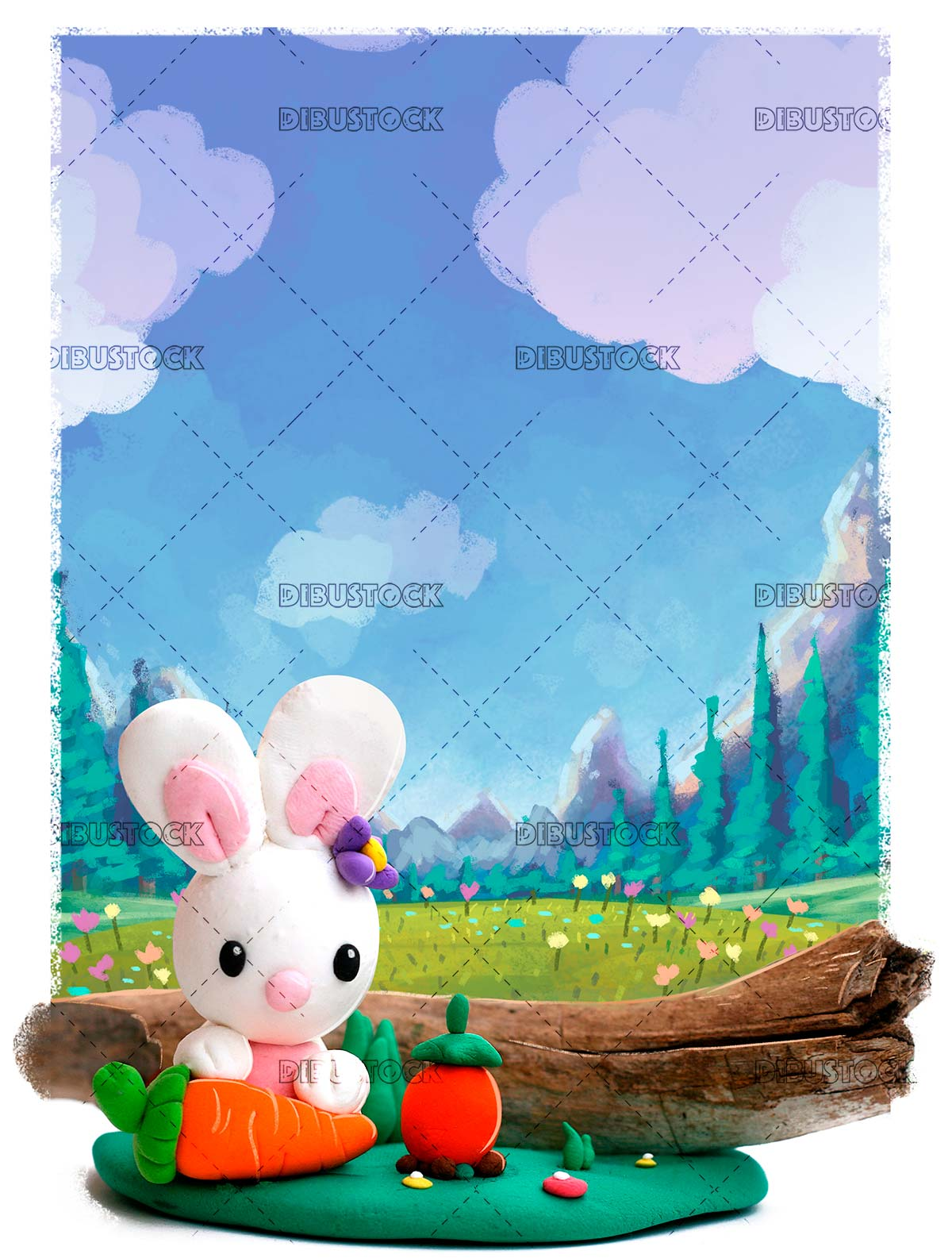 Rabbit with carrot in the field