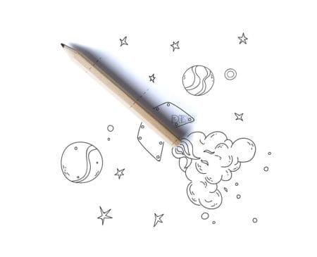 Rocket pencil. Spaceship