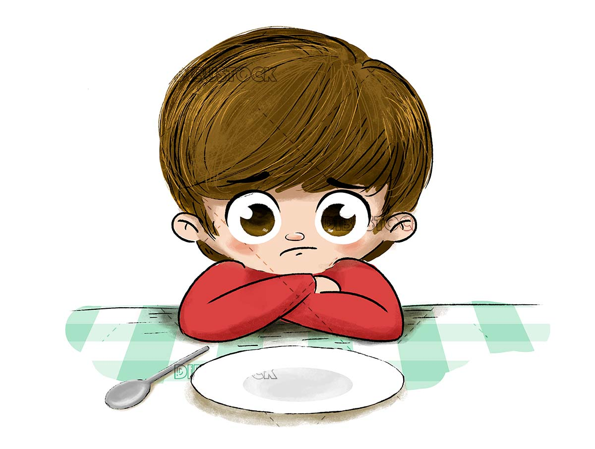Sad child without food