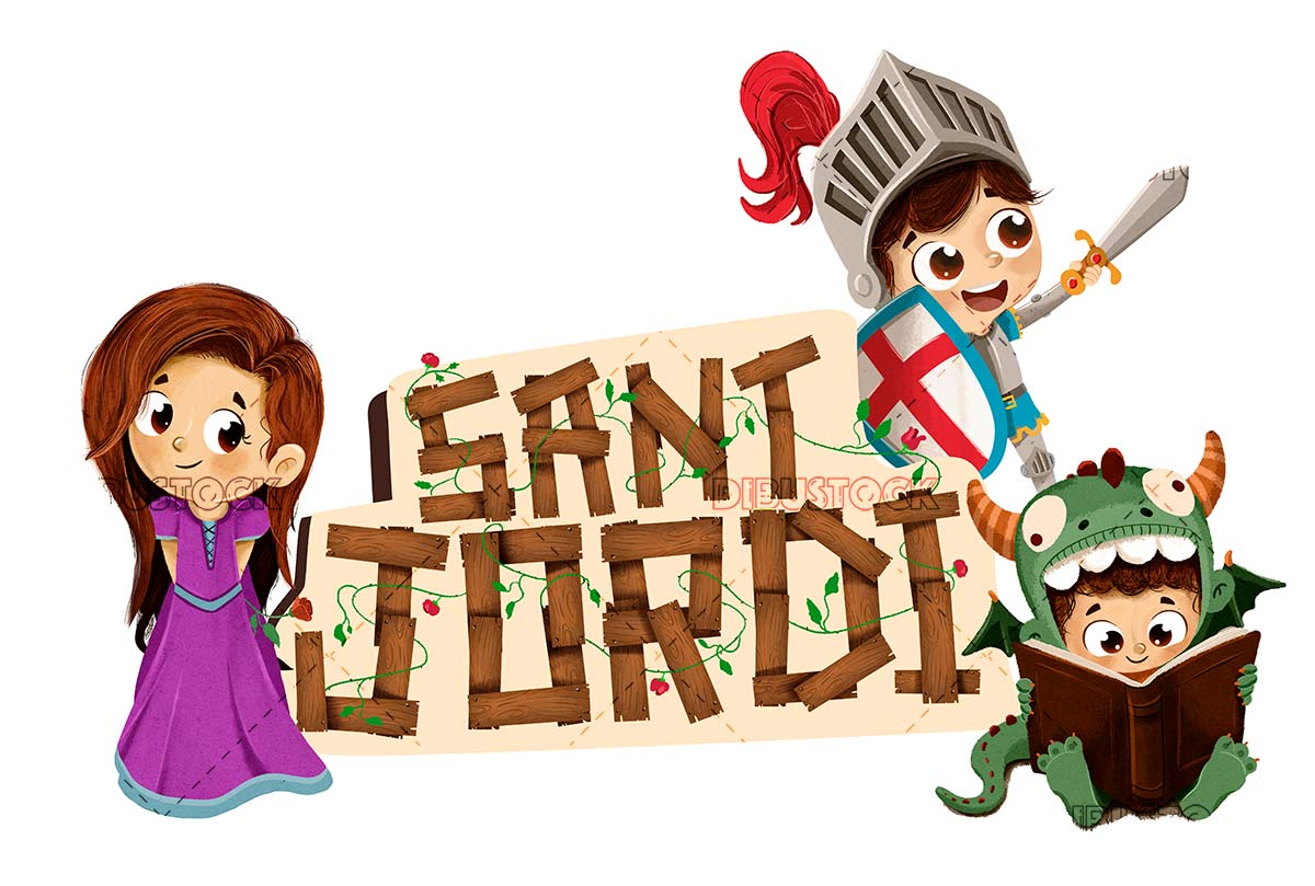 Sant Jordi with princess and dragon knight