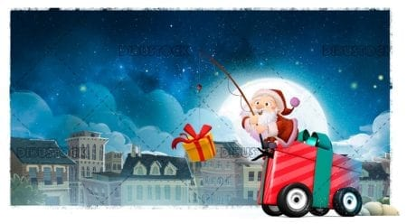 Santa Claus with gift of wheels around the city