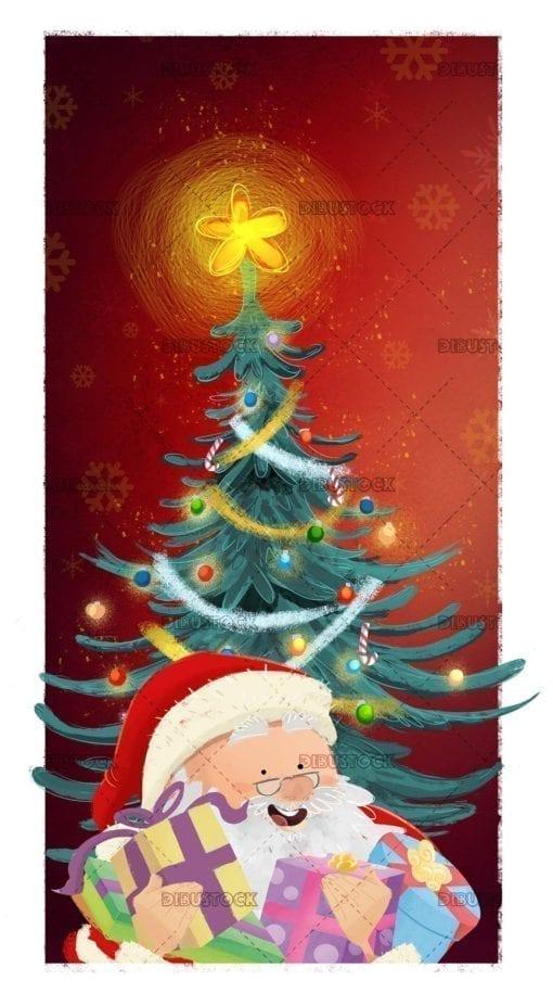 Snata Claus con arbol