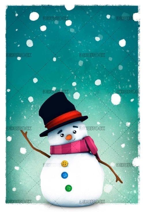 Snowman snowing