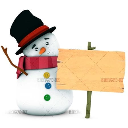 Snowman with sign white background