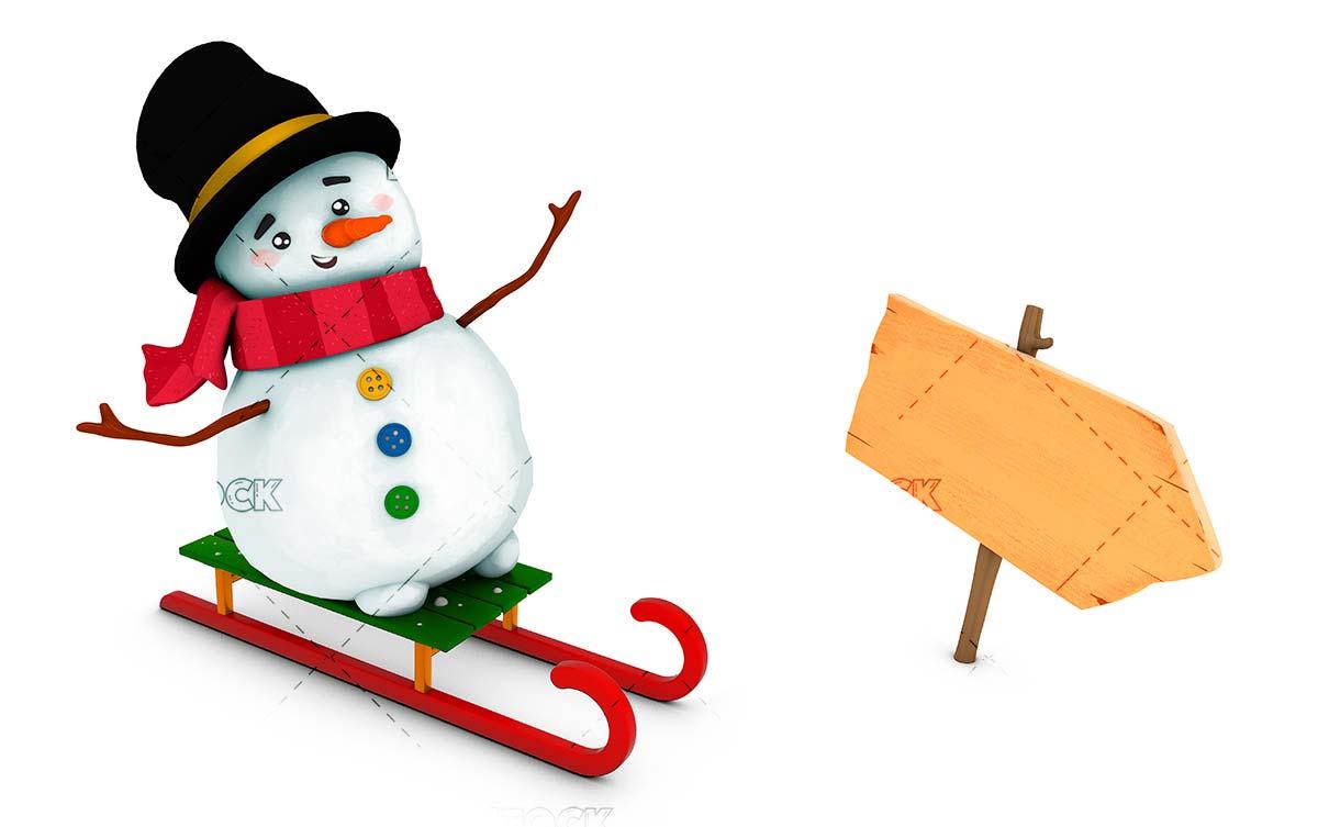 Snowman with sleigh