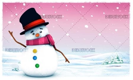 Snowman with winter background