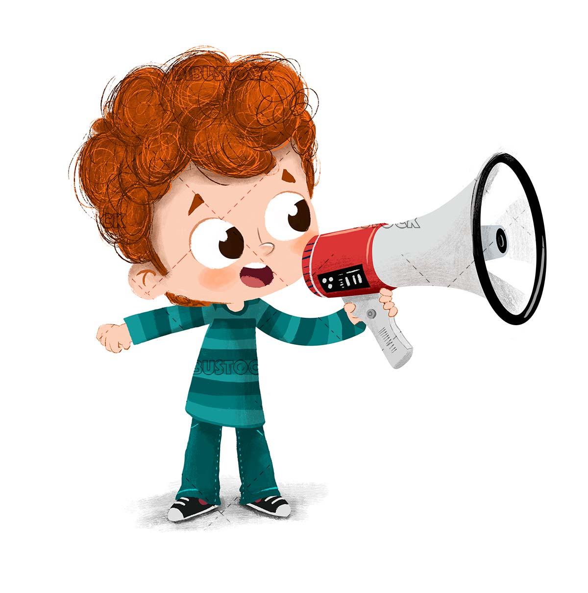 Speaking to the public with a megaphone