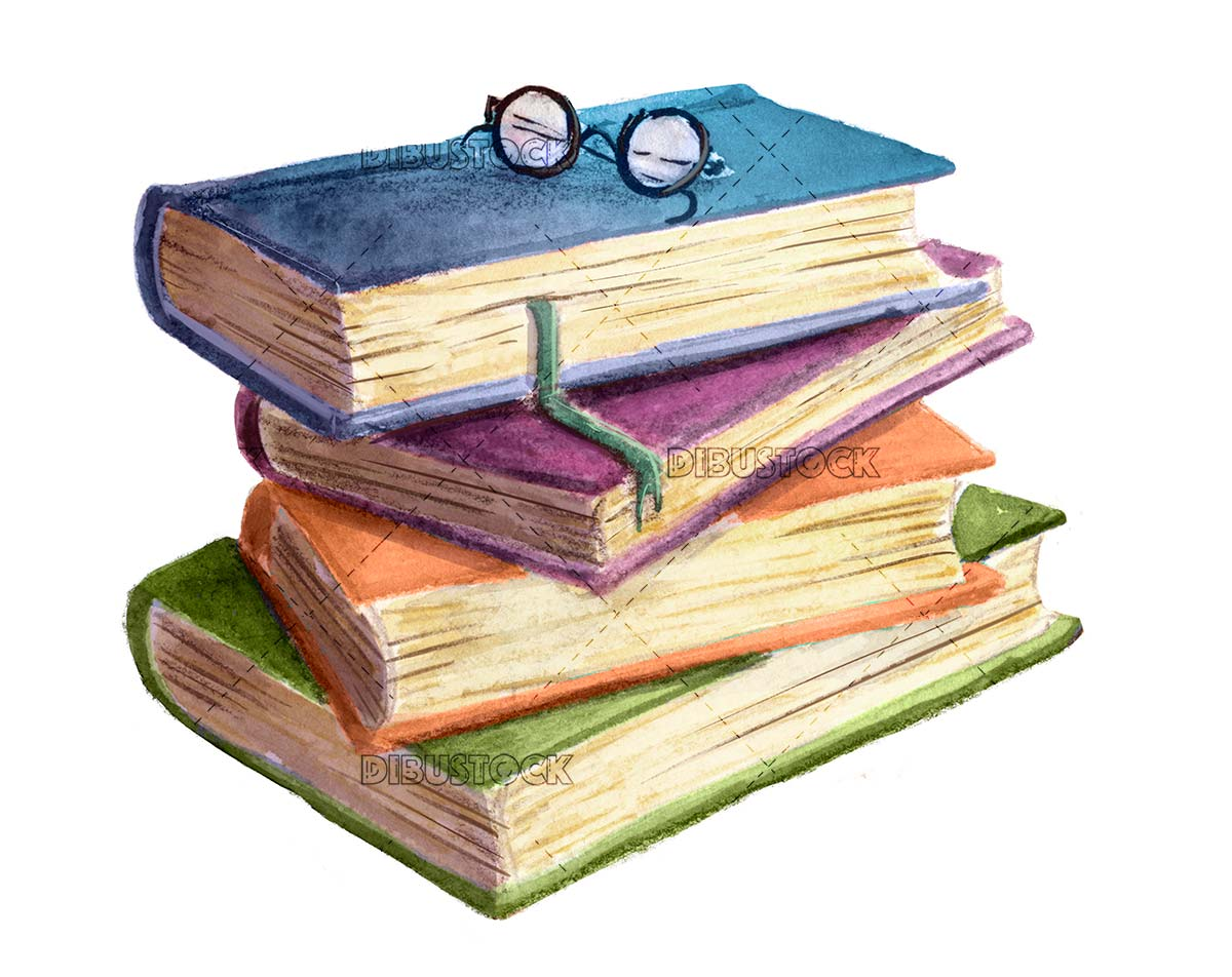 Stack of books in watercolor