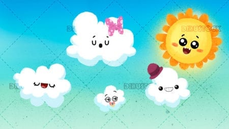 Sun and cheerful clouds