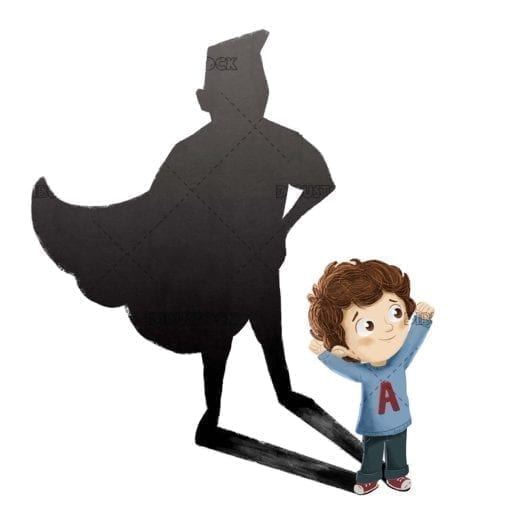 Superhero child Strong and brave child