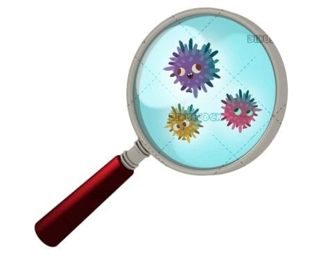 Viruses or bacteria seen with a magnifying glass