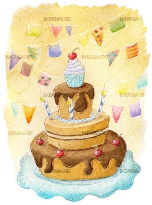 Watercolor birthday cake