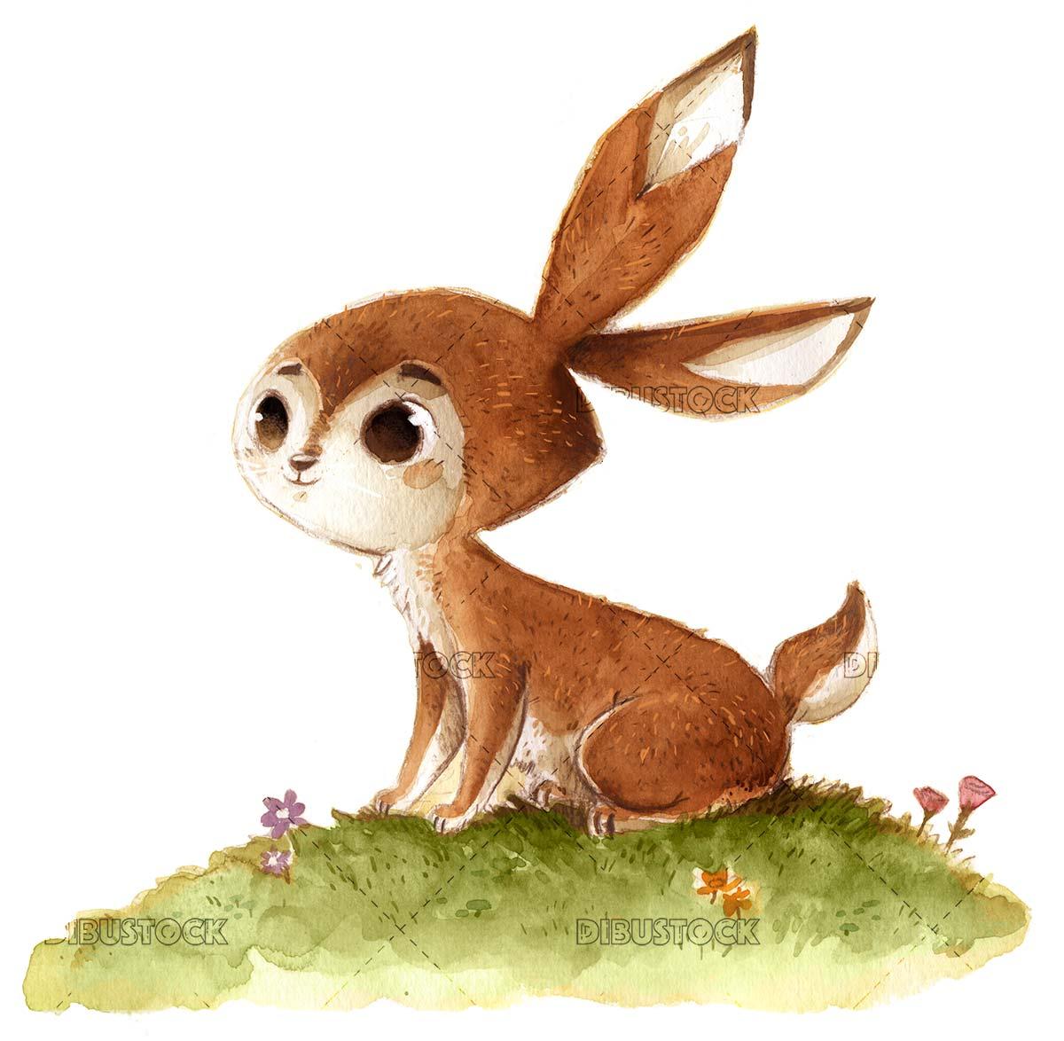 Watercolor field rabbit