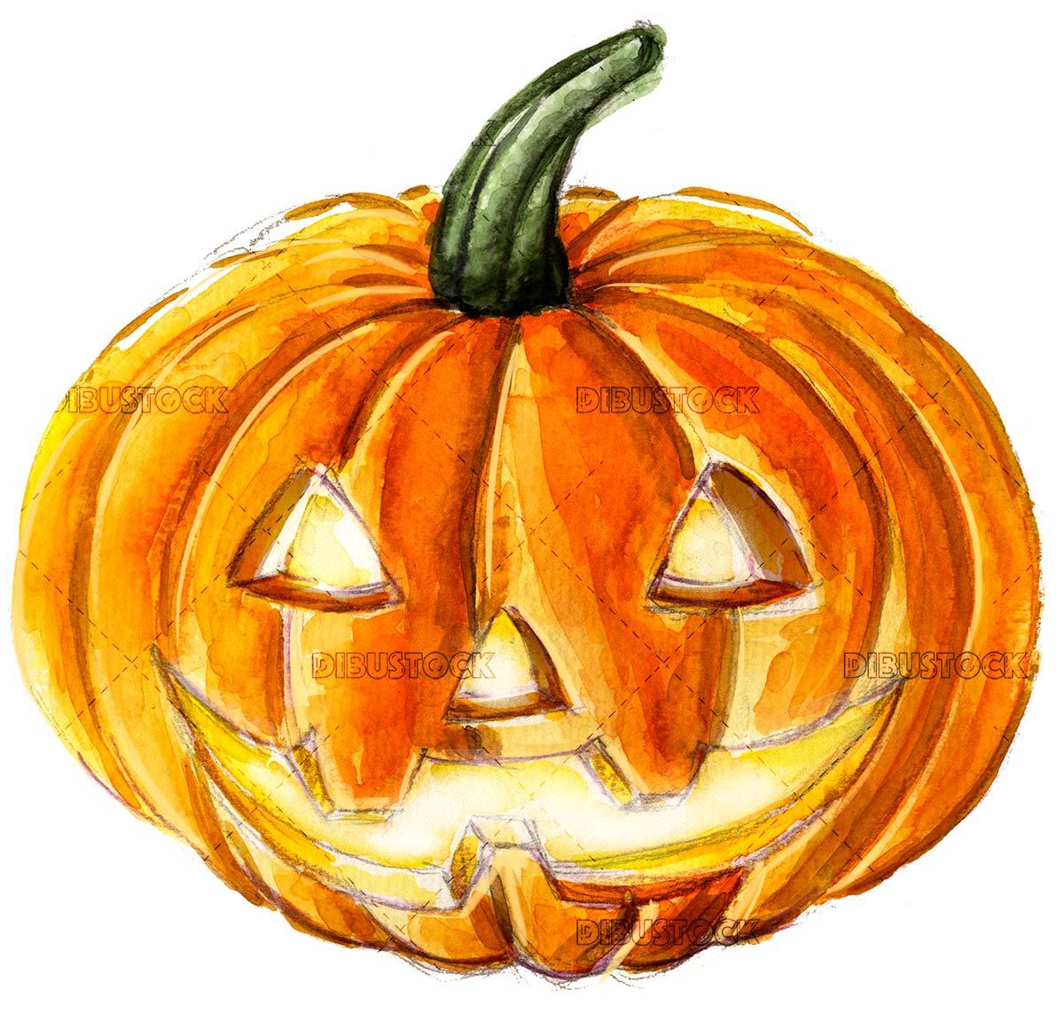 Watercolor halloween pumpkin