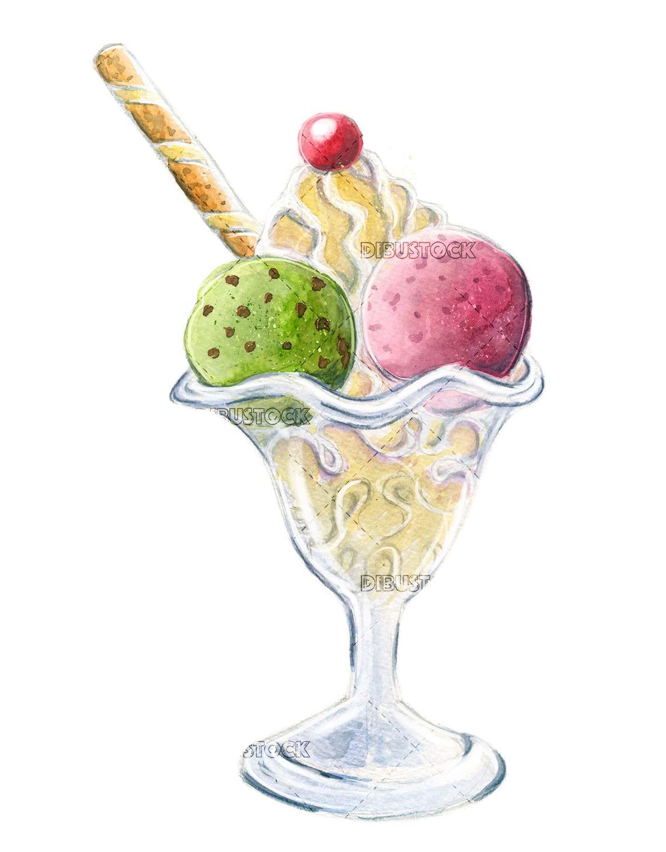 Watercolor ice cream cup