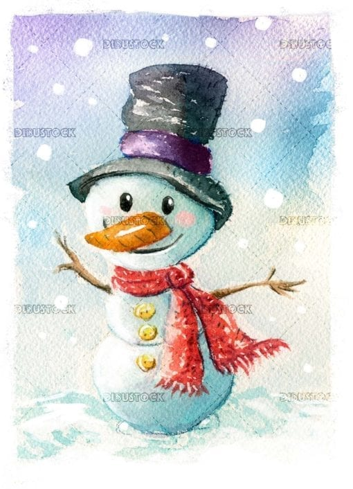 Watercolor snowman