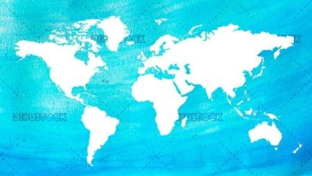 Watercolor world map white and blue
