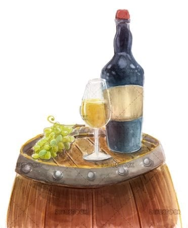 Wine with a glass and barrel