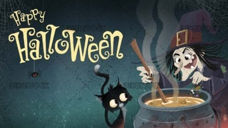 Witch and cat on Halloween