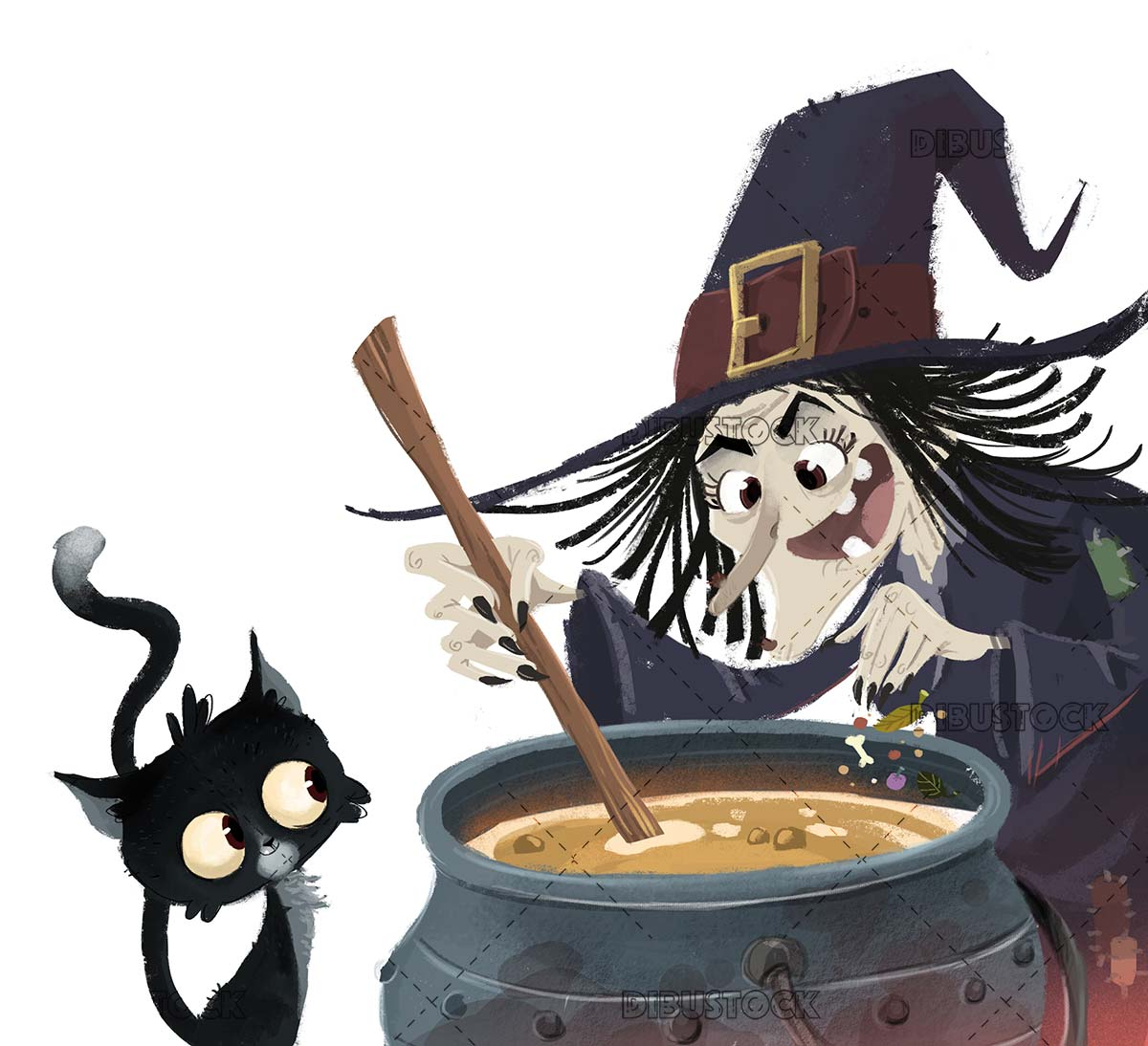 Witch and cat with magic potion